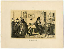 Antique Print-SATIRE-ALCOHOL ABUSE-KITCHEN-DRUNK-CAT-Cruikshank-1891