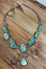 Vintage Large Sterling Silver Navajo Turquoise Necklace - Native American Indian