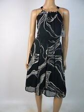 Ellen Tracy Black Ivory Pleat Chiffon Halter Necklace Cocktail Dress 6 NWT E269