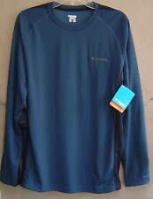 NWT $60 COLUMBIA SUB BASE Mens M Long Sleeve CREW Shirt DEEP TEAL AM6126-930