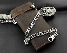 Men Trucker Motorcycle Rider Real Leather Money Card Wallet With Metal Chain