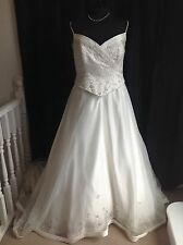 Mon Cheri Ivory Satin/Organza A-line/Ball Gown Strappy Wedding Dress UK18