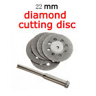 5X 22mm Emery Mini Diamond Rotary Cutting Discs Drill Bit + 1 Mandrel for Dremel