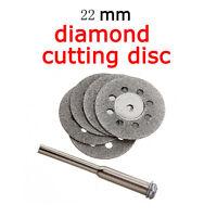 5X 22mm Emery Mini Diamond Rotary Cutting Discs Drill Bit + 1 Mandrel for Dremel