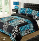 LEOPARD ANIMAL PRINT ZEBRA BLACK TEAL BLUE SINGLE bed QUILT DOONA COVER SET