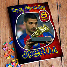 FC BARCELONA SUAREZ  Personalised Birthday Card! FREE Shipping! PREMIUM quality!