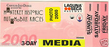 Monterey Historic Auto Races 2000 Laguna Seca Raceway VIP Ticket Media pass