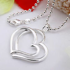 UK New Sterling Silver Plated Double Interlocking Love Heart Pendant Necklace