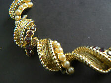 Vintage Necklace Gold Tone Faux Pearls Amethyst Rhinestones Coro Unsigned (B1-24