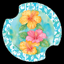 Hibiscus Garden Trio - Carsters 2 Pack, Coasters for Your Car  #DAT06