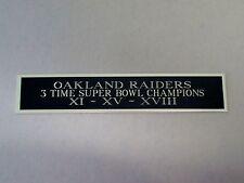 Oakland Raiders 3X Super Bowl Nameplate For A Football Helmet Case 1.5 X 6