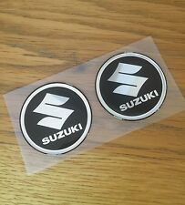 62mm Suzuki logo 3D Black Raised Fuel Tank Sticker Emblem Decal Set of two