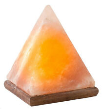 Natural Himalayan [Hand Crafted] Crystal Rock Salt Pyramid Lamp w/ Wood Base