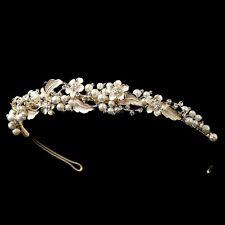 Light Gold Ivory Pearl & Rhinestone Floral Leaf Bridal Wedding Headband Tiara