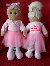 x PERSONALISED BALLERINA RAG DOLL BIRTHDAY FLOWERGIRL NEW BABY ANY MESSAGE 40cm