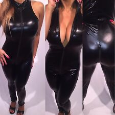 Connie's Dominatrix Stretch Faux Vinyl Black Jumpsuit With Front To Back Zip OS