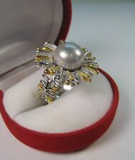 12 mm CREAMY-GREY PEARL DESIGNER RING sz 6.75 14k TWO-TONE GOLD/STERLING SILVER