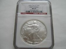 2006 , Silver Eagles , NGC , MS 69 , First Strikes , Lot of 2 Coins