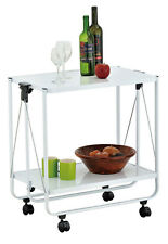 Trolley Service Kitchen Cart 2 Tier Wheels White Storage Serving Steel Metal