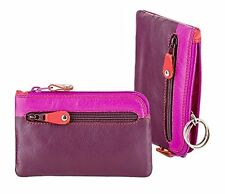 Visconti RB69 Multi Color Soft Leather Coin Purse Key Wallet With Key Chain Plum