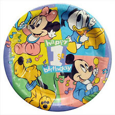 DISNEY BABIES 1st Birthday Tunes SMALL PAPER PLATES (8) ~ First Party Supplies