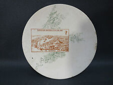 Ancienne petite assiette murale exposition universelle Lyon 1894 Sarreguemines