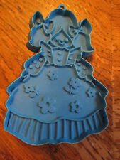 Vintage Hallmark Blue Plastic Girl Pigtails Imprint Cookie Cutter Ornament