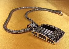 925 Sterling Silver Onyx Pendant With Sterling Silver Necklace Chain-57.3 Gr