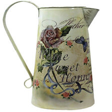 Shabby Chic Metal HOME SWEET HOME Jug Pitcher Table Decoration / Vase Flower Pot