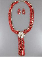 MULTI STRAND RED GLASS SEED BEAD TWO TONE FLOWER PENDANT TASSEL NECKLACE EARRING