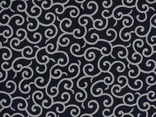 Furoshiki Japanese Fabric Navy 'Karakusa' Vines Motif Cotton 52cm