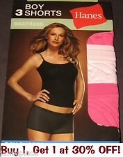 3 Pair HANES Womens Underwear Size 5 SEAMLESS Boy Shorts No Panty Lines