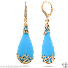 37.90 TCW 14K Rose Gold Diamond & Turquoise Drop Dangle Paisely Vintage Earring