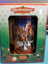 1998  Anheuser Busch  AB  Budweiser Holiday Christmas Beer Stein Clydesdales NIB