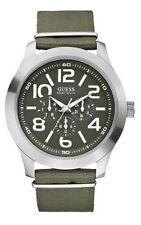 GUESS Fashion Authentic Analogue Men's Watch Green Canvas Band Stainless Steel