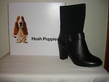 Hush Puppies Dakota Sisany Womens Black Leather/Suede Boot Waterproof Size 7 NIB