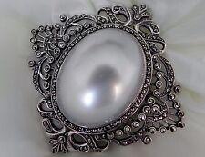 Impresionante! 32 gramos de plata esterlina 925 Estampado Perlas de Imitación Marcasita Broche Pin