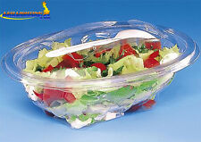 50 pcs Plastic Disposable Clear BOX Container Hinged Lid Fork Salad SLV750SP