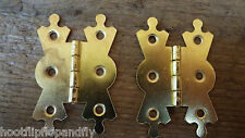 "PAIR 2"" 50mm FANCY BUTTERFLY HINGES BRASS COLOUR ON STEEL FACE FITTING CABINET"
