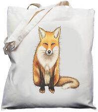 Fox Diseño-natural (Crema) Algodón Bolso Shopper Hombro Bolsa//