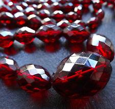 vintage art deco BAKELITE cherry amber facet cut bead flapper necklace -D422