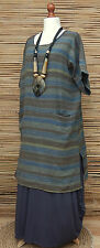 """LAGENLOOK LINEN/COTTON STRIPED 2 POCKETS LONG TUNIC-DRESS*MULTI*BUST UP TO 50"""""""