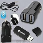 Bluetooth Music Audio Receiver 3.5mm Dongle & Dual 2Port USB Car Charger Adapter