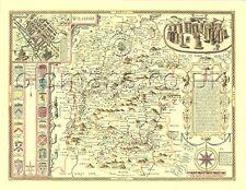 Wiltshire imprimé pleine grandeur réplique vieux 17 quater John vitesse carte Stonehenge Salisbury