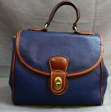 COACH Vintage Navy Blue + Brown Full Grain Leather Doctor Hand Bag Purse Satchel