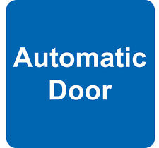 AUTOMATIC DOOR sign sticker (4) blue & white vinyl square 7.5cm small