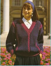 "LADIES~SWEATER~CABLE TRIM~BOUCLE TWEED DK~KNITTING PATTERN~SIZE 32""-42"" (U102)"