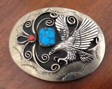 Native American Eagle Turquoise Coral Belt Buckle--western, southwest