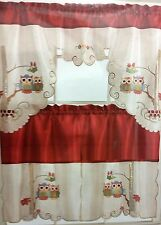 RARE 3 pc. Embroidery Kitchen Curtains Set: 2 Tiers & Swag, 2 OWLS, RED