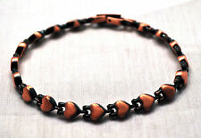 LADIES HEALING 7.25 INCH MAGNETIC THERAPY LINK BRACELET: Copper Hearts; 4 Pain!